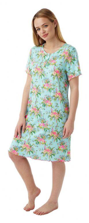 Ladies Soft Touch Exotic Bird Print Nightdress in Sizes 12 - 30